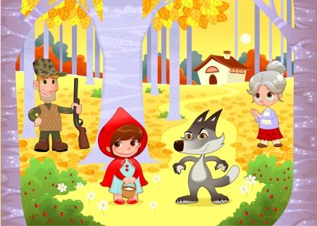 hiding: Little Red Hiding Hood scene. Funny cartoon and vector illustration.