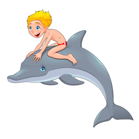 straddle: The boy and the dolphin. Cartoon vector illustration, isolated objects