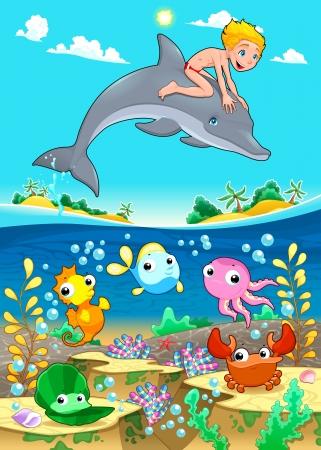 Jongen en dolfijn met vis unde de zee. Grappige cartoon vector illustratie