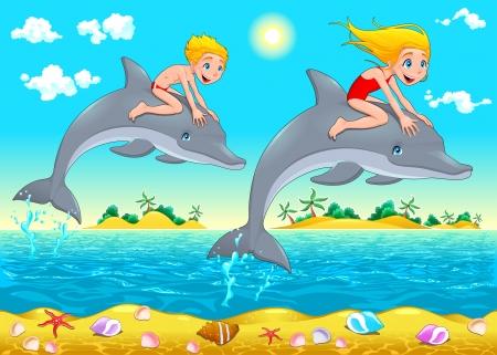 男の子、女の子とイルカは海で。漫画のベクトルのイラスト。