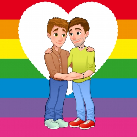 gay pride rainbow: Born this way. Young men loving each other. Vector illustration. Illustration