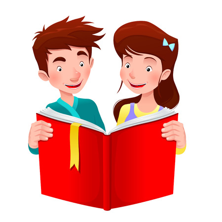 Boy and girl are reading a book. Cartoon vector illustration Vector