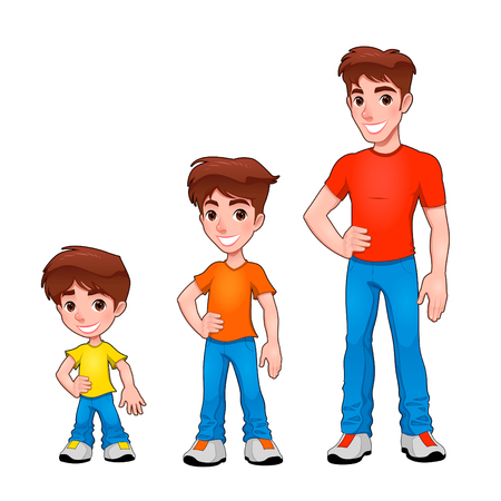 man t shirt: Child, boy and man, description of age. Vector isolated characters. Illustration