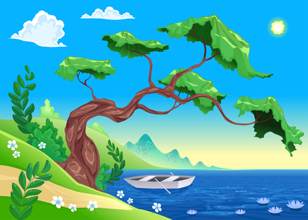 Romantic landscape with tree and water. Vector illustration Vector
