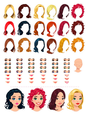 girl woman: Fashion female avatars. 18 hairstyles, 18 eyes, 18 mouths, 1 head, for multiple combinations. In this image, some previews. Vector file, isolated objects. Illustration