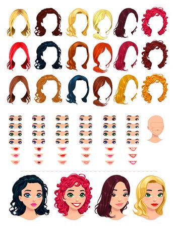 izole nesneleri: Moda kadın avatarları. 18 saç, 18 gözü, çoklu kombinasyonlar için 18 ağızlar, 1 kafa,. Bu görüntüde, bazı önizleme. Vektör dosyası, izole nesneleri.