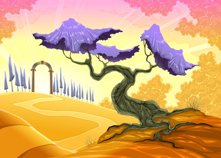 archway: Landscape with tree and arch. Vector illustration