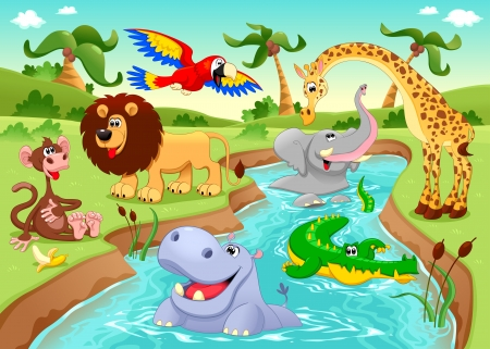 platano caricatura: Animales africanos en la selva. Dibujos animados e ilustración.