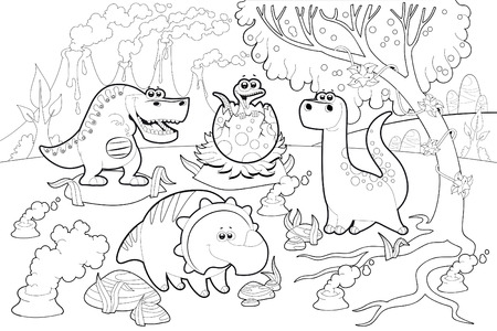 Funny dinosaurs in a prehistoric landscape, black and white. Vector