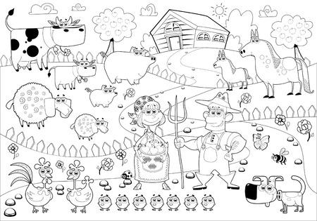 白と黒のおかしい農場家族。  イラスト・ベクター素材