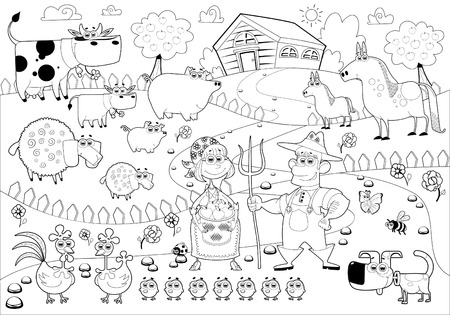 COLOURING: Funny farm family in black and white.