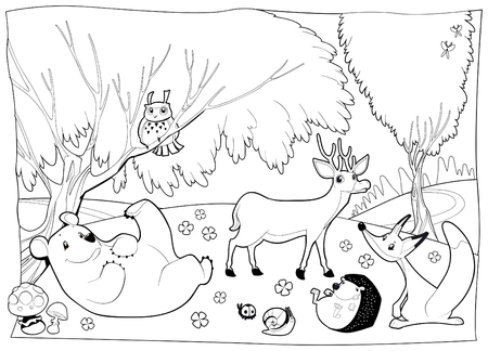 animales del bosque: Animales en la madera, en blanco y negro. Vectores