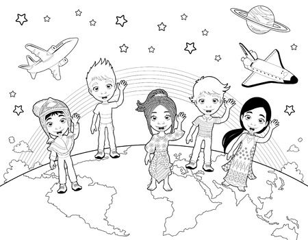 Children on the world in black and white. Vector