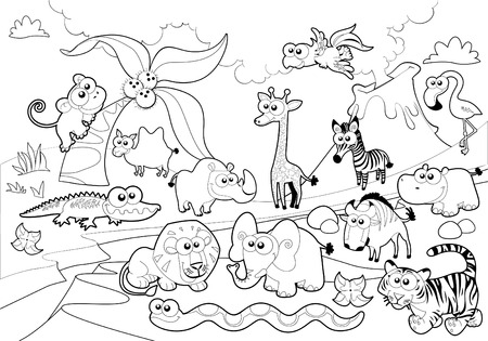 Savannah animal family with background in black and white. Vector