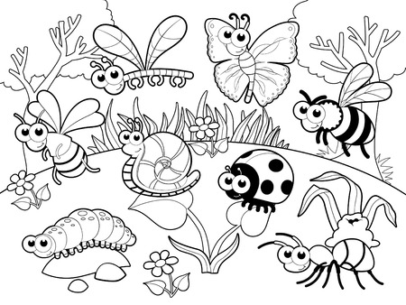 Bugs and snail with background. Cartoon  vector illustration. Vettoriali