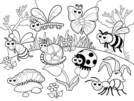 Insectos y caracol con el fondo. Ilustración vectorial de dibujos animados. Foto de archivo - 25318010