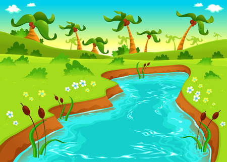 Jungle with pond. Cartoon and vector illustration.