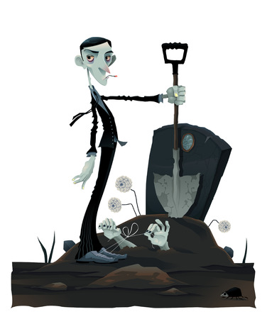 Funny scene in the cemetery. Cartoon and vector isolated illustration Vector