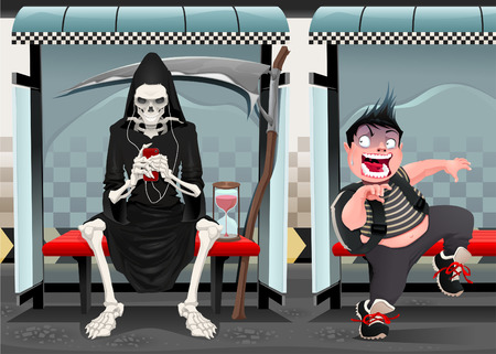 the spectre: Meetings on the subway station. Funny cartoon and vector illustration