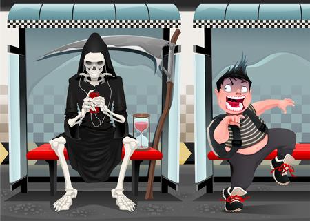 estación del metro: Reuniones en la estaci�n de metro. Dibujos animados e ilustraci�n vectorial