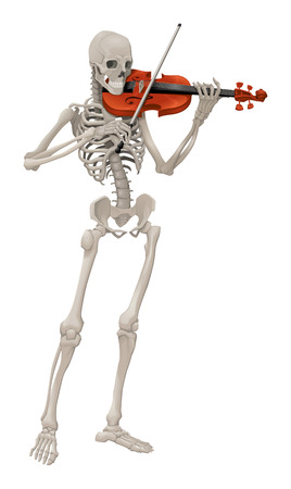 Violinst. Isolated vector skeleton playing music. Illustration