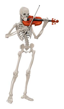 Violist. Geïsoleerde vector skelet spelen muziek. Stock Illustratie