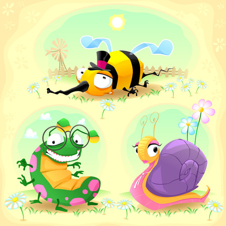 Two funny insects and one snail. with background. Cartoon  vector illustration. Vector