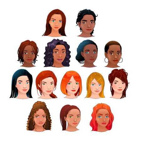 Indian, black, asian and latino women. Vector isolated avatars. Stock Vector - 25985499