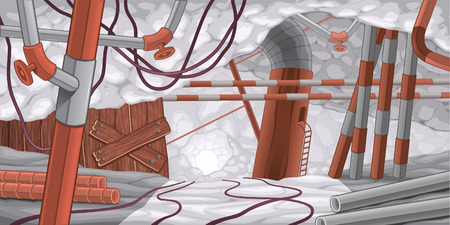 basement: Scene with pipes and cables, underground. Cartoon and vector illustration.