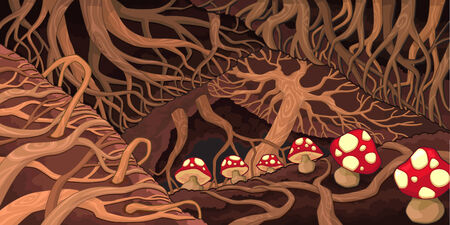 lair: Underground with roots and mushrooms. Cartoon vector illustration.
