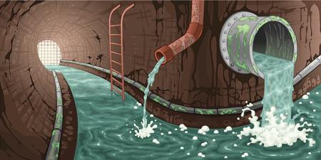 desague: Dentro de la red de alcantarillado. Dibujos animados e ilustraci�n vectorial.