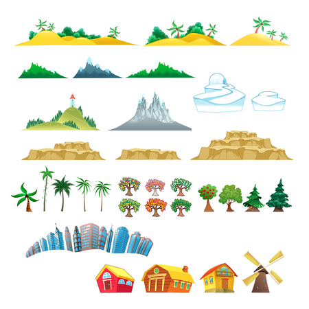 Set of trees, mountains, hills, islands and buildings. Isolated vector objects Illustration
