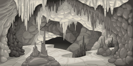 Inside the cavern. Cartoon and vector illustration.