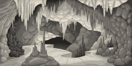 grotte: L'int�rieur de la caverne. Bande dessin�e et illustration vectorielle.