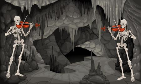 jaskinia: Koncert jaskini. Cartoon i ilustracji wektorowych.
