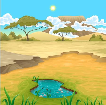paisaje: Paisaje africano. Vector natural de la ilustración Vectores