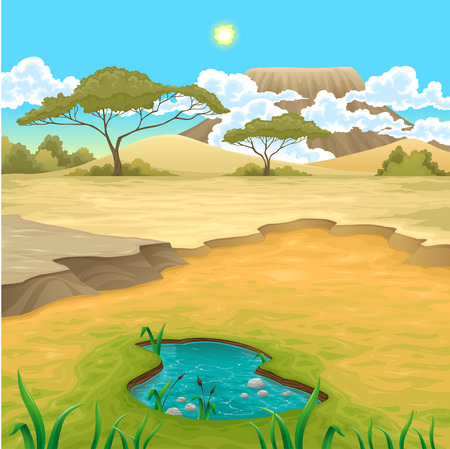 African landscape. Vector natural illustration