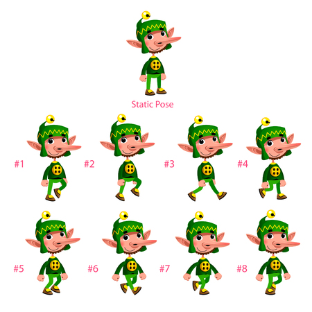 Animation of Dwarf walking. Eight walking frames + 1 static pose. Vector cartoon isolated characterframes.