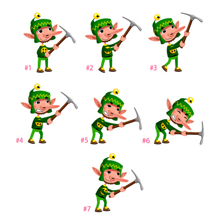 animations: Animation of Dwarf digging. Seven frames, in loop. Vector cartoon isolated characterframes.