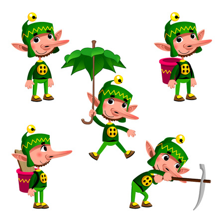 dwarves: Funny dwarf in different poses. Cartoon vector isolated character.