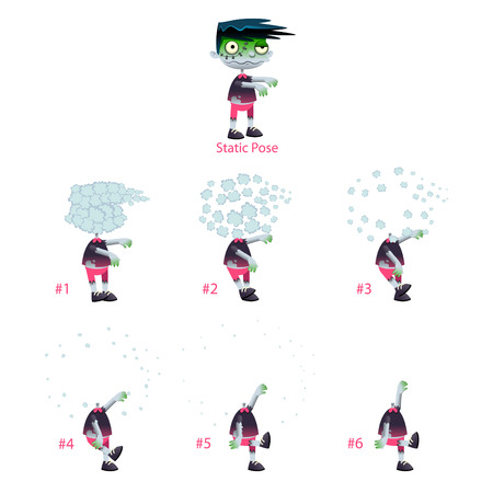 animation teenagers: Animation of Zombie with explosion of head. Six frames and 1 static pose. Vector cartoon isolated frames.
