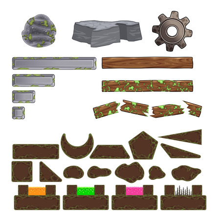 Set of game elements. Platforms and objects. Vector isolated items. Vector