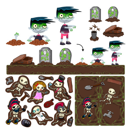 Set of game elements with zombie character, platforms and objects. Vector isolated items. Vector