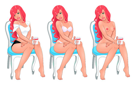 Beautiful woman in three versions, dressed and naked. Vector cartoon isolated objects. Illustration