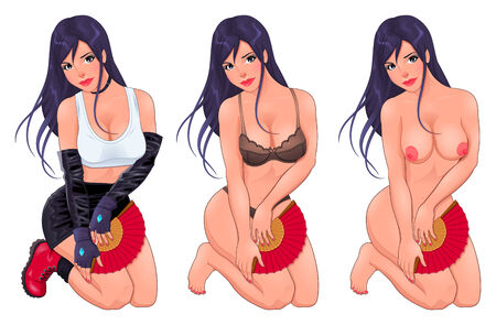 Beautiful woman in three versions, dressed and naked. Vector cartoon isolated objects. Vector
