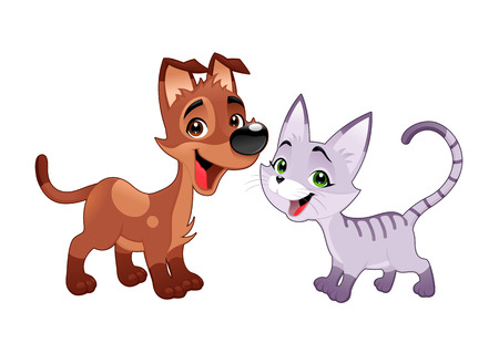Lovely cat and dog. Vector isolated animals