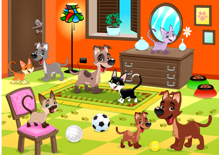 perro familia: Familia de gatos y perros en la casa. Divertidos dibujos animados e ilustración vectorial.