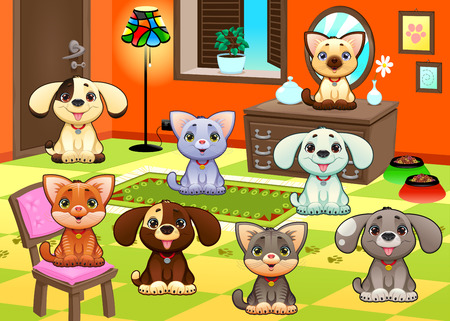 house cat: Family of cats and dogs in the house. Funny cartoon and vector illustration. Illustration