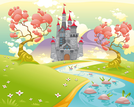 Mythological landscape with medieval castle. Cartoon and vector illustration. Фото со стока - 27591635