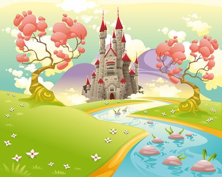 brook: Mythological landscape with medieval castle. Cartoon and vector illustration.